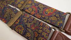 Mens Suspender Braces Leather Rayon Navy Print #Unknown