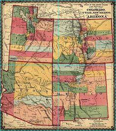 Vintage Map of Colorado, Utah, New Mexico, and Arizona Four Corners Usa, Arizona, Sea To Shining Sea, Map Globe, Old Maps, State Map, Cartography, Map Art, Rocky Mountains