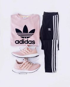 pink adidas sweatshirt and sneakers with black joggers. Visit Daily Dress Me at … pink adidas sweatshirt and sneakers with. Teenage Outfits, Teen Fashion Outfits, Sport Outfits, Summer Outfits, Gym Outfits, Style Fashion, Sport Fashion, Fashion Pants, Sporty Outfits Nike