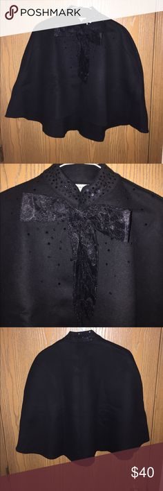 Neiman Marcus black shaw with lace bow. One size. Neiman Marcus black shaw with lace bow and sequins. Never worn. Neiman Marcus Other
