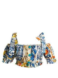 Dolce & Gabbana Majolica-print cotton off-the-shoulder top Blackpink Fashion, Minimal Fashion, Korean Fashion, Fashion Brands, Fashion Outfits, Womens Fashion, Stage Outfits, Kpop Outfits, Cute Outfits