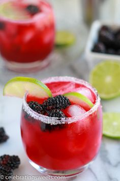 Blackberry Lime Margaritas - Refreshing margarita flavored with lime and fresh blackberry syrup, served on the rocks in a sugar rimmed glass. Tequila Drinks, Cocktail Drinks, Cocktail Recipes, Drink Recipes, Margarita Tequila, Margarita Party, Martini Recipes, Alcoholic Drinks, Blackberry Margarita
