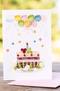 Happy Birthday Cake Quilling Card - UViet Store