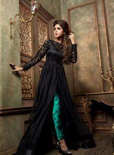 Black designer Indian pant style anarkali frock in net J15466