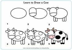 how to draw animals very young children | View and print Learn to draw a cow (pdf file)
