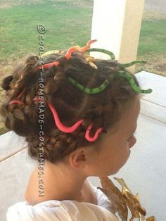 halloween hair do idea looks like medusa with the worms in it to look like snakesvery cool n creative n i love the braids - Medusa Halloween Costume Kids