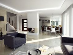 Living room, fireplace and kitchen
