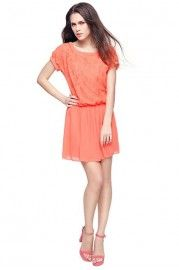 Sweet Lace Panel Short Sleeve Dress with Chiffon Skirt GET IT AT @OASAP