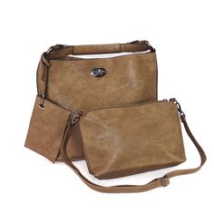 Trendige 3 in 1 Tasche - Handtasche, Innentasche und Schlüsselbund bzw. Geldbörse - Farbe braun -