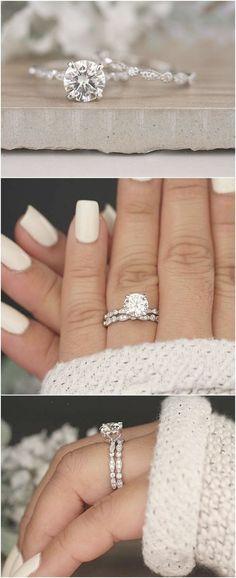 Wedding Ring Set Moissanite 14k White Gold Engagement Ring Round 8mm Moissanite Ring Diamond Milgrain Band Solitaire Ring Promise Ring #moissanitering #solitairering