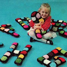 Vintage Crochet Pattern PDF  Granny Square Alphabet Letters   Toy Retro. £1.95, via Etsy.