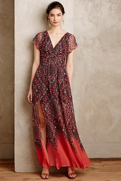 Love the read and blue colors of this maxi dress and this style. Samira Silk Maxi Dress #anthropologie