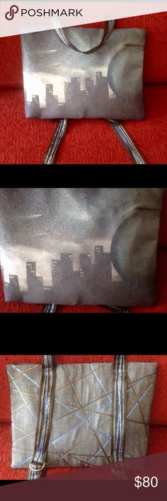 Backpack, original art on canvas, washable Moon over city! Unique original art (by myself) on canvas made into backpack! ❤️ It's washable!!! ❤️ All lined inside with large pocket! ❤️ 100% cotton except straps for straight! ❤️ Back is denim lined with black and blue ribbons with gold! ❤️ Closed with zipper! ❤️  Straps are adjustable!! ❤️ Perfect for laptop! Collage necessity! ❤️ BohoMoho Bags Backpacks