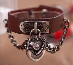 74b50103d63 Relógio Bracelete Coração Pulseira Em Couro Feminino M  Jq - R  49