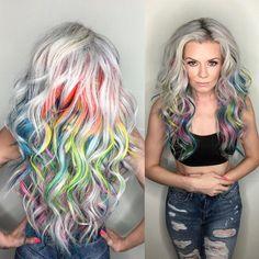 Ash Blonde Hair With Rainbow Highlights
