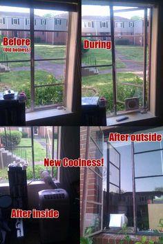 Cheap, Beautiful Floor Model AC Unit Install Into Vertical Casement Windows!    Imgur