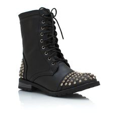 spiked combat boots ($37) ❤ liked on Polyvore