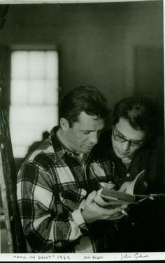 Jack Kerouac and Allen Ginsberg during the filming of Pull My Daisy, New York, March 1959. c John Cohen.