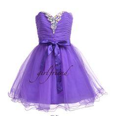 Cute purple strapless prom dress / bridesmaid dress
