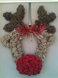Rudolph Burlap Wreath : $110 - sold Made by Red-y Made Wreaths. Like & Follow us on Facebook https://www.facebook.com/pages/Red-y-Made-Wreaths/193750437415618 or Visit us at www.redymadewreaths.com
