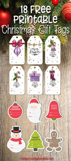 18 FREE Printable Gift Tags for Christmas for you to choose from for your gift wrapping this year. You are sure to find Gift Tags you'll like in this list! Diy Christmas Tags, Free Printable Christmas Gift Tags, Free Printable Gift Tags, Preschool Christmas, Holiday Gift Tags, Noel Christmas, Christmas Crafts, Christmas Ideas, Nordic Christmas