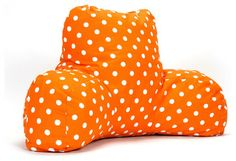 Indoor Tangerine Small Polka Dot Reading Pillow