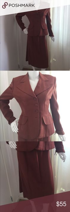 VINTAGE - 1940's Burnt Orange Skirt Suit Time travel back to the Mad Men era in this burnt orange blazer and skirt!  Authentic 1940's vintage. From the closet of former Hollywood stylist Bianca White. Size 8. Jackets & Coats Blazers