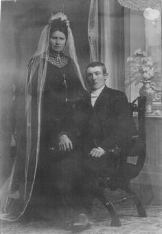 My great grandparents Mina Olava Mattningsdal and Tønnes Lindal Olufsen Hølland. Parents of Gudveig Hølland Black Wedding Gowns, My Family, Black Wedding Dresses, Families