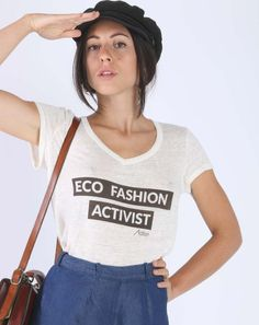 Aatise - T-shirt Zazie Eco Fashion Activist Made in France Fashion Group, Fashion Outfits, Linen Tshirts, Zara, White T, Made In France, White Shirts, Fashion Quotes, Ethical Fashion
