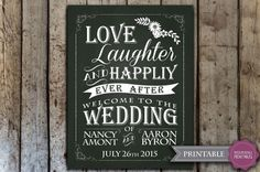 Custom wedding chalkboard sign  Printable by HopSketchDesigns