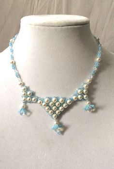 """Something Blue """"Tiara"""" Style Necklace with Blue Seed Beads, White Swarovski Pearls, Glass Tear Drops, And Clear Swarovski Crystals"""