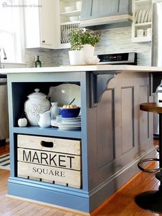 Painting the kitchen island is an easy way to give the entire kitchen a brand new look. BM - Ashland Slate