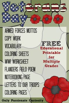 Heather from Only Passionate Curiosity is offering a free printable pack for Veteran's Day. This printable set can be used for all grade Free Veterans Day, Veterans Day Activities, Classroom Activities, School Holidays, School Fun, American Heritage Girls, Study History, Student Council, Remembrance Day