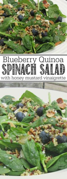 Healthy and delicious blueberry quinoa spinach salad with a honey mustard vinaigrette.