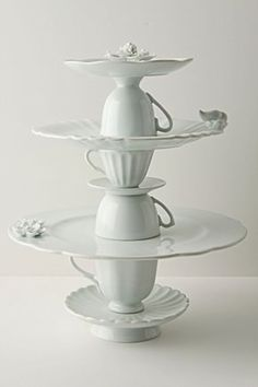 Cake stand / cookie stand made by hot-gluing teacups, plates and saucers together.