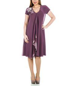 Another great find on #zulily! Plum Modern Rosette V-Neck Shift Dress - Plus #zulilyfinds