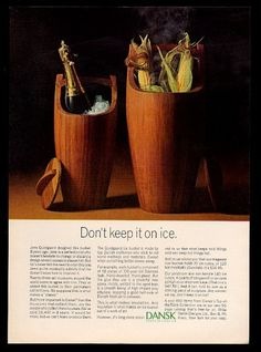 1966 Jens Quistgaard teak ice bucket photo Dansk Designs vintage print ad