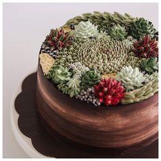 Succulent - terrarium buttercream cake