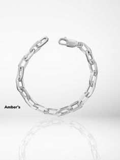 925 Silver ITALY Chain Bracelet • Chunky Chain Bracelet • Silver Link Bracelet • Gourmet Chain • Box Chain • Amber's • Silver Bracelets For Women, Sterling Silver Bracelets, Silver Jewelry, 925 Silver, Link Bracelets, Beaded Bracelets, Silver Rings With Stones, Luxury Jewelry, Diamond Jewelry