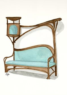 Bench for a Smoking Parlour - Art Nouveau watercolor painting. I painted this watercolor last year andis part of my classic furniture collection and you can buy it in my store  http://fineartamerica.com/featured/bench-for-a-smoking-parlour-art-nouveau-watercolor-painting-eugenia-alvarez.html #industrialdesign #artnoveau