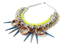 Glowstick, neon rope necklace, spikes and vintage beads, mermaid style, chunky  statement OOAK necklace. $80,00, via Etsy.