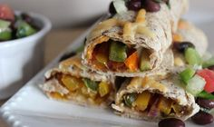 Crispy baked pepper & lentil wraps are highlighted with a monterey jack cheese and served with a freshly made salsa. Baked Peppers, How To Make Salsa, Green Lentils, Lentil Recipes, Food Challenge, Tasty Bites, Vegetarian Cheese, Dinner Recipes, Brunch