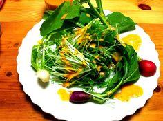レシピはプロフィールのDE-OILブログをどうぞ - 6件のもぐもぐ - 水菜とラディッシュにトマトと新玉ねぎのドレッシング by deoil518