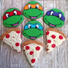 TMNT and Pizza cookies by SweetCBakeShop on Etsy, $40.00