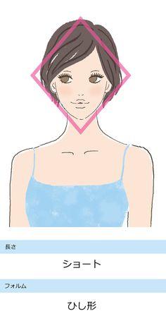 <骨格タイプ別の似合う髪型> ストレートタイプに似合う、ひし形ショートヘア