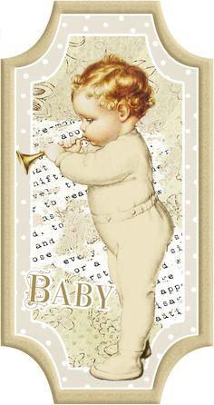 Bebé Retro para Tarjetas, Toppers o Etiquetas. Para Imprimir Gratis. | Ideas y material gratis para fiestas y celebraciones Oh My Fiesta!