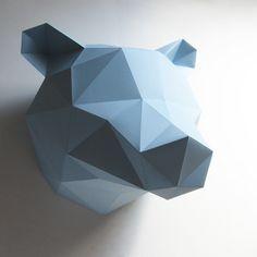 A DIY paper folding kit to make a bear bust