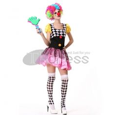 Halloween Costumes For Adults Pink Women Clown Costumes, your best choice.