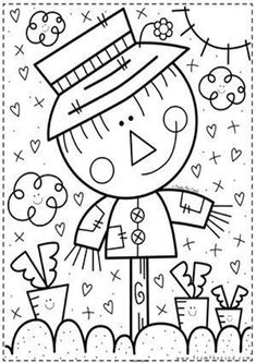 Free & Easy To Print Cute Coloring Pages - Tulamama Fall Coloring Pages, Halloween Coloring Pages, Flower Coloring Pages, Adult Coloring Pages, Coloring Pages For Kids, Coloring Sheets, Coloring Books, Free Coloring, Thanksgiving Coloring Pages