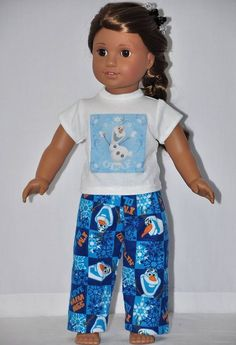 "OLAF ""DISNEY FROZEN"" Pajama Outfit Fits 18"" American Girl Doll Clothes"